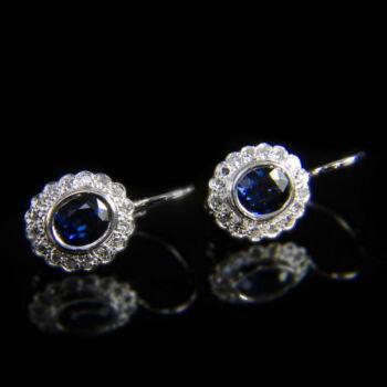 Rozetta fazonú zafír fülbevaló pár 16-16 achtkant gyémánttal
