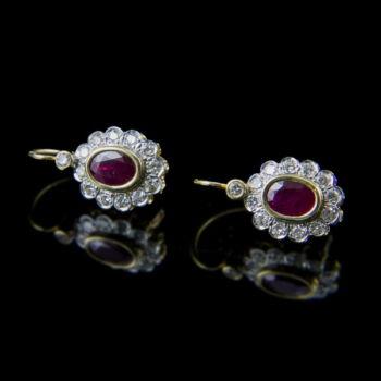 Arany rubin gyémánt fülbevaló