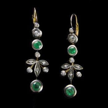 Smaragd gyémánt fülbevaló