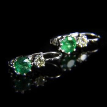 Smaragd-briliáns fülbevaló pár