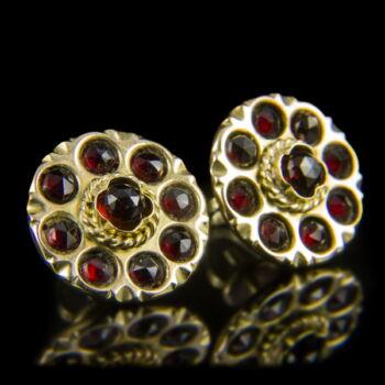 Stiftes arany fülbevaló pár gránát kövekkel