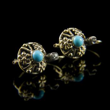 Türkiz köves arany fülbevaló gyémánttal