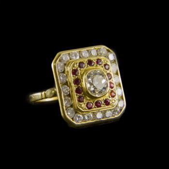 Gyémánt és rubin köves arany gyűrű