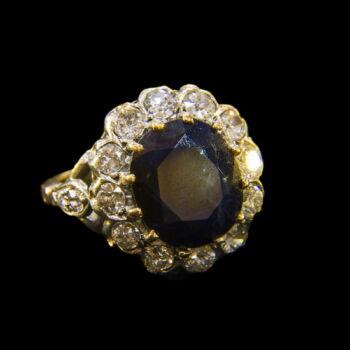 Gyűrű zafírral kővel és briliánsokkal
