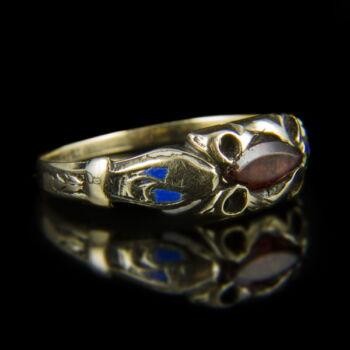 Üveg köves arany gyűrű zománc díszítéssel
