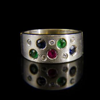 Gyűrű kaul foglalású drágakövekkel