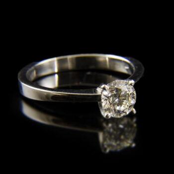18 karátos fehérarany eljegyzési gyűrű briliáns csiszolású gyémánt kővel