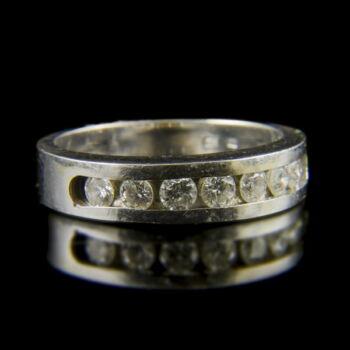 Alliance fazonú fehérarany gyűrű briliáns csiszolású gyémántokkal