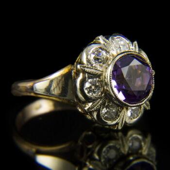 Ametiszt és gyémánt köves női arany gyűrű