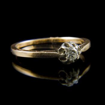 Arany eljegyzési gyűrű briliáns csiszolású gyémánt kővel (0.23 ct)