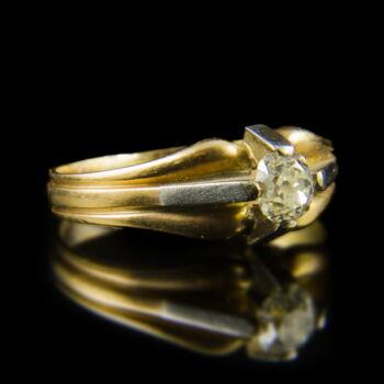 Arany eljegyzési gyűrű régi csiszolású gyémánt kővel (0.35 ct)