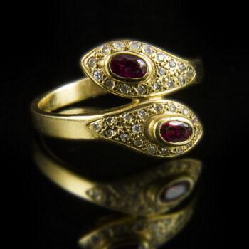 Arany rubin gyémánt gyűrű