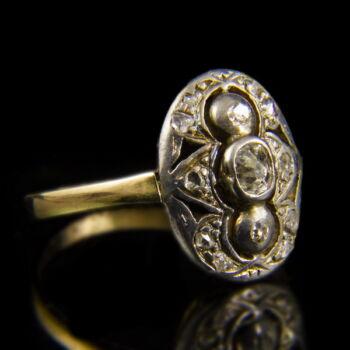 Art deco fazonú gyémánt köves arany gyűrű