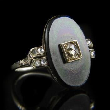 Art deco gyűrű ónix és gyémánt kővel
