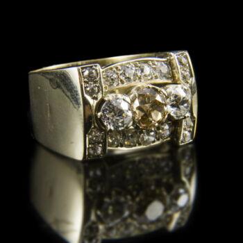Art deco gyűrű gyémánt kövekkel