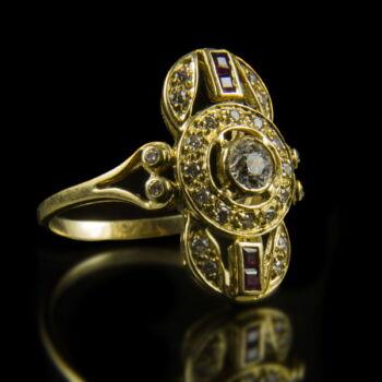 Art deco gyűrű rubin és gyémánt kövekkel