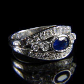 Art deco jellegű zafírköves női aranygyűrű