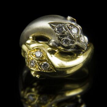 Cartier stílusú párducfejes gyémánt gyűrű