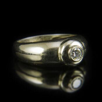 Eljegyzési gyűrű bouton foglalatban gyémánt kővel (0.24 ct)