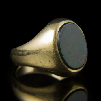 Férfi arany pecsétgyűrű heliotrop kővel