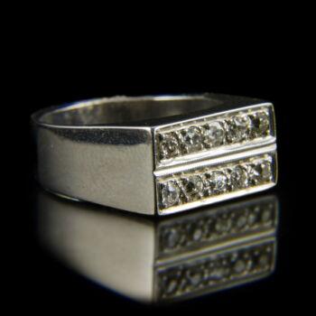 Férfi fehérarany gyűrű két sorban gyémántokkal