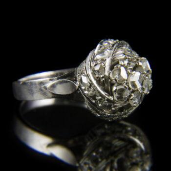 Fehérarany női gyűrű rózsacsiszolt gyémántokkal