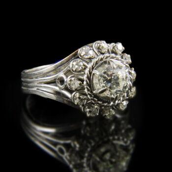 Fehérarany rozetta fazonú gyémánt gyűrű