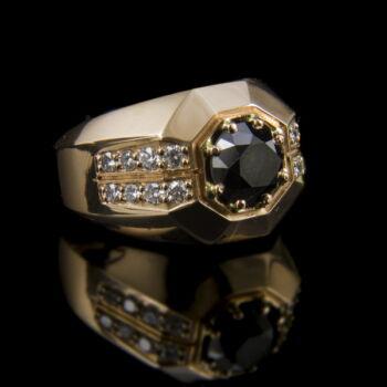Fekete gyémánt köves férfi pecsétgyűrű