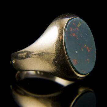Heliotrop köves férfi arany pecsétgyűrű