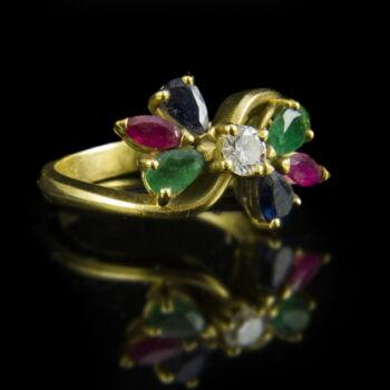Női arany gyűrű smaragd rubin zafír és gyémánt kővel