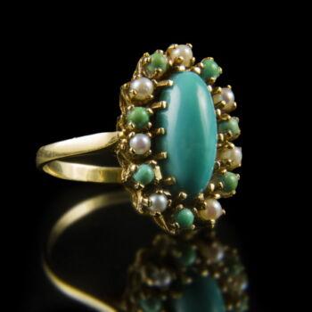 Női arany gyűrű türkiz hatású kővel és igazgyöngyökkel