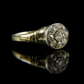 Rozetta fazonú arany gyűrű régi csiszolású gyémánt kövekkel