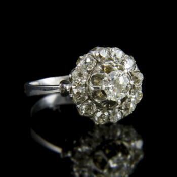 Rozetta fazonú gyémánt köves fehérarany gyűrű