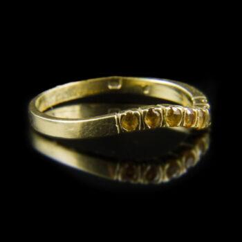 Sárga zafír köves alliance-fazonú női gyűrű
