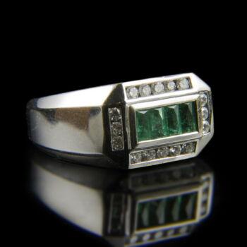 Smaragd és gyémánt köves férfi fehérarany gyűrű