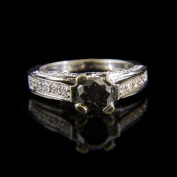 Szoliter jellegű fekete moissanite köves női gyűrű