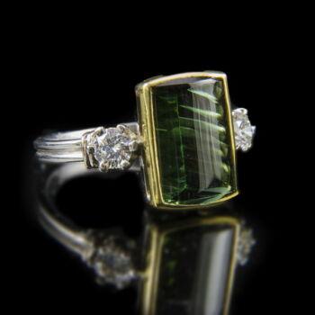 Turmalin gyűrű gyémántokkal