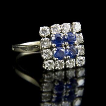 Zafír és gyémánt köves fehérarany gyűrű