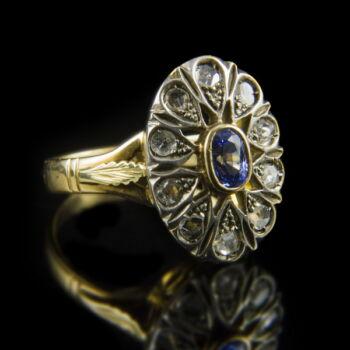 Zafír és gyémánt köves női arany gyűrű