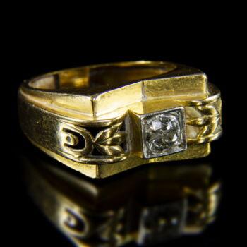 Szoliter fazonú női gyűrű régi csiszolású gyémántkővel