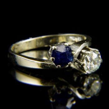 14 karátos Toi et Moi fazonú fehérarany gyűrű zafír és gyémánt kövekkel