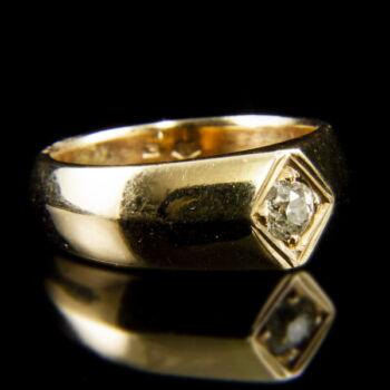 14 karátos arany szoliter gyűrű régi csiszolású gyémánt kővel (0.25 ct)