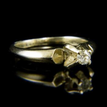 14 karátos fehérarany szoliter gyűrű briliáns csiszolású gyémánt kővel (0.16 ct)