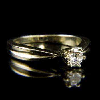 14 karátos fehérarany szoliter gyűrű briliáns csiszolású gyémánt kővel (0.30 ct)
