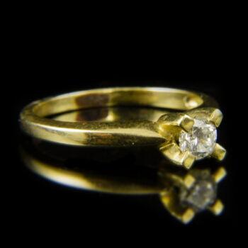 14 karátos sárgaarany szoliter gyűrű briliáns csiszolású gyémánt kővel (0.41 ct)