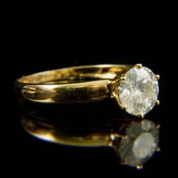 14 karátos sárgaarany szoliter gyűrű briliáns csiszolású gyémánt kővel (1.22 ct)