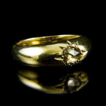14 karátos sárgaarany szoliter gyűrű hollandirózsa csiszolású gyémánt kővel