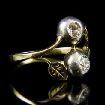 14 karátos szecessziós sárgaarany gyűrű gyémánt kövekkel