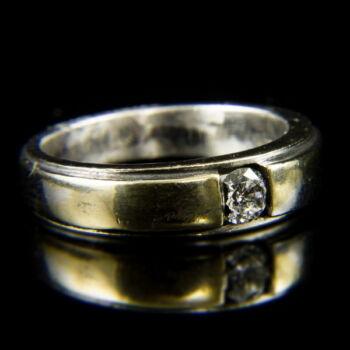 18 karátos fehérarany szoliter gyűrű briliáns csiszolású gyémánt kővel (0.28 ct)