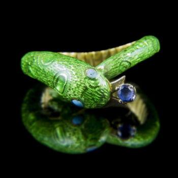 Kígyó gyűrű zöld zománccal és zafír kővel